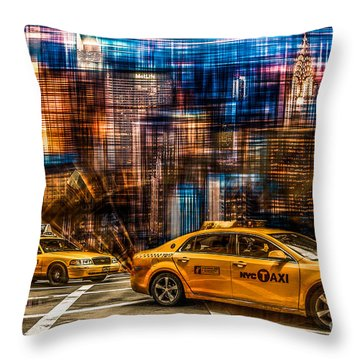 Manhattan - Yellow Cabs I Throw Pillow by Hannes Cmarits