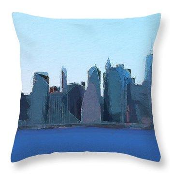 Throw Pillow featuring the digital art Manhattan 2014 by David Klaboe