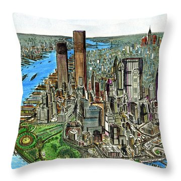 New York Downtown Manhattan 1972 Throw Pillow
