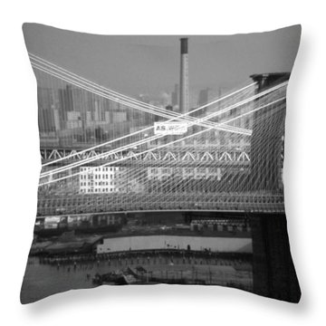 Manhattan And Brooklyn Bridge's Throw Pillow