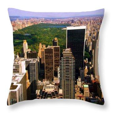 Manhattan And Central Park Throw Pillow by Monique Wegmueller