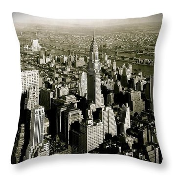 Manhattan And Chrysler Building II Throw Pillow