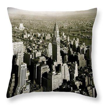 Manhattan And Chrysler Building II Throw Pillow