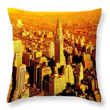 Manhattan And Chrysler Building Throw Pillow