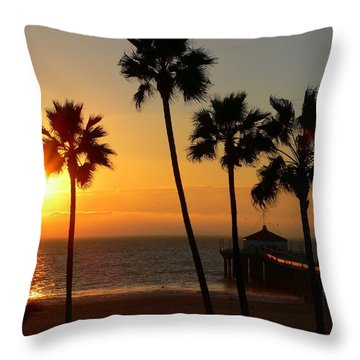 Manhattan Beach Pier And Palms At Sunset Throw Pillow