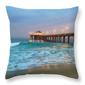 Manhattan Beach Reflections Throw Pillow