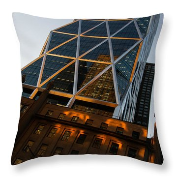 Manhattan Blues And Oranges Throw Pillow