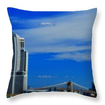 Manhattan Bridge And Nyc Skyline From The Harbor Throw Pillow