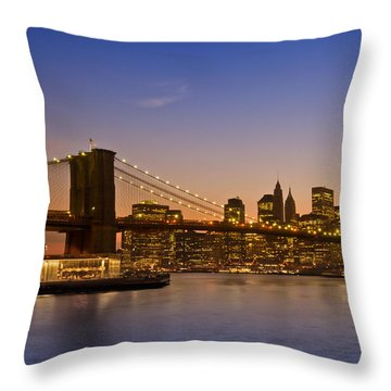 Manhattan Brooklyn Bridge Throw Pillow by Melanie Viola