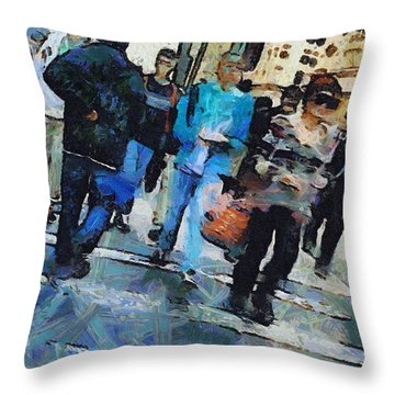 Manhattan Crosswalk Throw Pillow by Dan Sproul