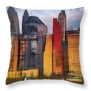 Beautiful City Manhattan Digital Painting Throw Pillow by Georgi Dimitrov