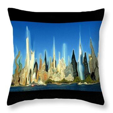 New York City 2100 - Modern Art Throw Pillow by Art America Gallery Peter Potter