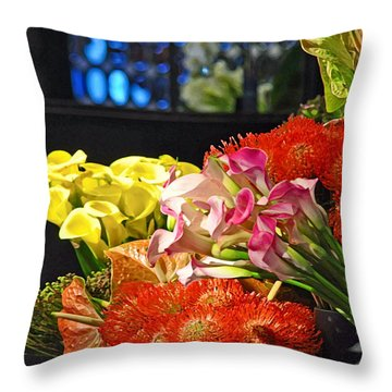 Manhattan Florist Throw Pillow by Gwyn Newcombe