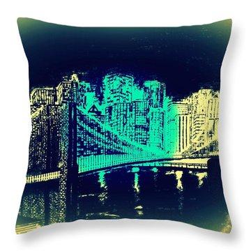 Manhattan In Blue Throw Pillow by Irving Starr