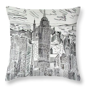 Throw Pillow featuring the drawing Manhattan by Janice Rae Pariza