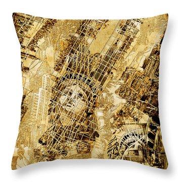 Manhattan Map Antique Throw Pillow by Bekim Art