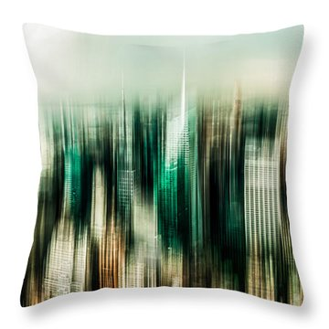 Manhattan Panorama Abstract Throw Pillow by Hannes Cmarits