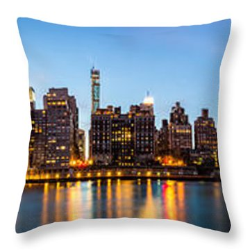 Throw Pillow featuring the photograph Manhattan Panorama And Queensboro Bridge by Mihai Andritoiu