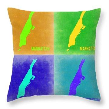 Manhattan Pop Art Map 2 Throw Pillow by Naxart Studio