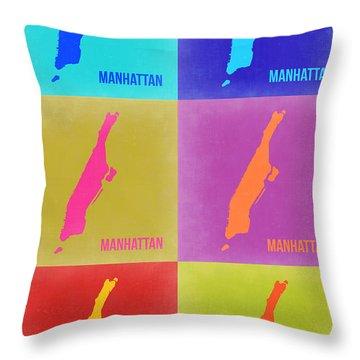 Manhattan Pop Art Map 3 Throw Pillow by Naxart Studio