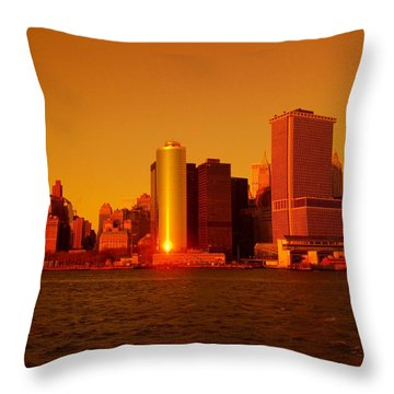 Manhattan Skyline At Sunset Throw Pillow