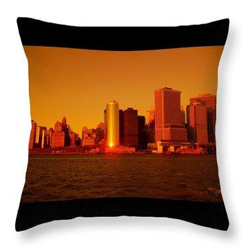 Manhattan Skyline At Sunset Throw Pillow
