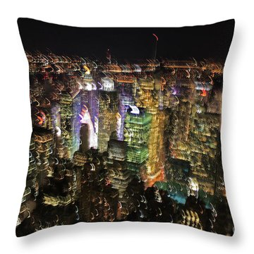Throw Pillow featuring the photograph Manhattan Skyline Empire State Wobbles by Andy Prendy