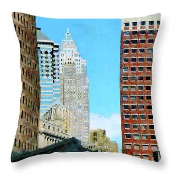Manhattan Skyscrapers Throw Pillow by Susan Savad
