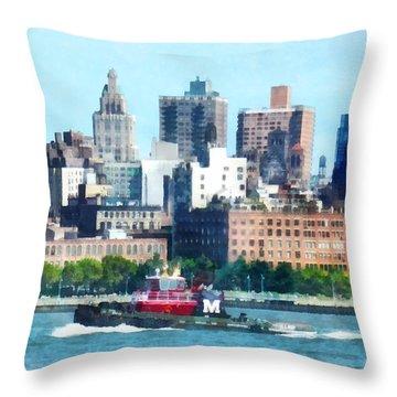 Manhattan - Tugboat Against Manhattan Skyline Throw Pillow by Susan Savad