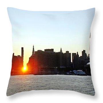 Throw Pillow featuring the photograph Manhattanhenge 2011 by Lilliana Mendez