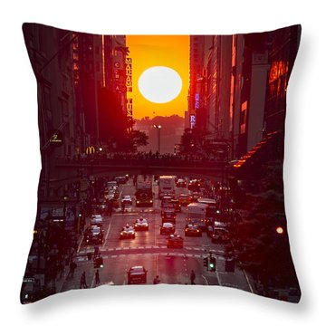 Manhattanhenge Throw Pillow