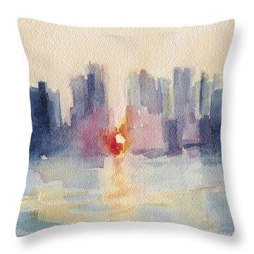 Manhattanhenge New York Skyline Painting Throw Pillow by Beverly Brown
