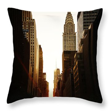 Manhattanhenge Sunset And The Chrysler Building  Throw Pillow by Vivienne Gucwa