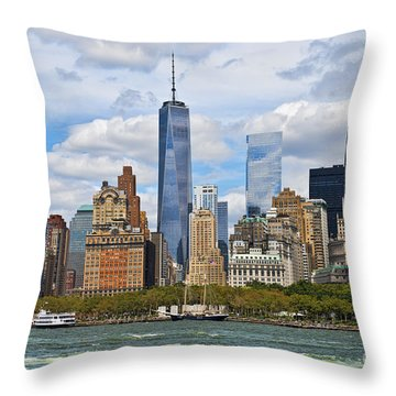 Manhattan's Financial District Skyline  Throw Pillow