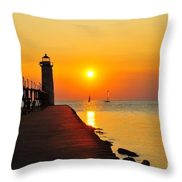 Manistee Lighthouse Sunset Throw Pillow