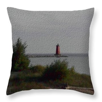 Throw Pillow featuring the photograph Manistique Light by Charles Robinson