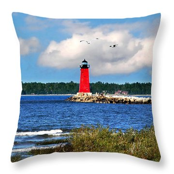 Manistique Lighthouse Throw Pillow by Christina Rollo