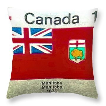 Throw Pillow featuring the digital art Manitoba Emblem by Mario Carini