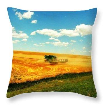 Mankato Nebraska Wheat Harvest Throw Pillow by PainterArtist FIN