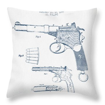 Mannlicher Pistol Patent Drawing From 1897  -  Blue Ink Throw Pillow