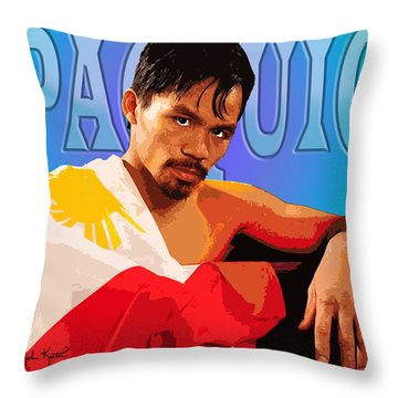 Manny Pacquio Throw Pillow by John Keaton