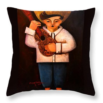 Throw Pillow featuring the painting Manolito El Cuatrista 1942 by Oscar Ortiz