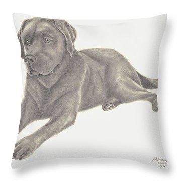 Throw Pillow featuring the drawing Man's Best Friend by Patricia Hiltz