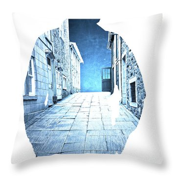 Man's Profile Silhouette With Old City Streets Throw Pillow by Edward Fielding