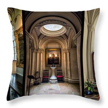 Mansion Hallway Triptych Throw Pillow by Adrian Evans