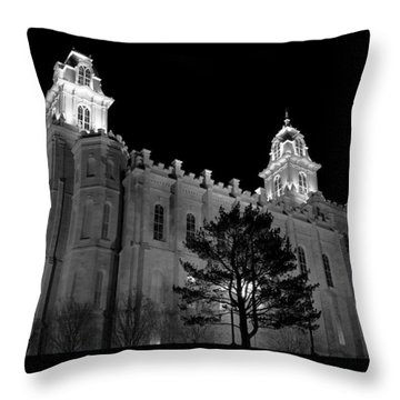 Manti Temple Black And White Throw Pillow
