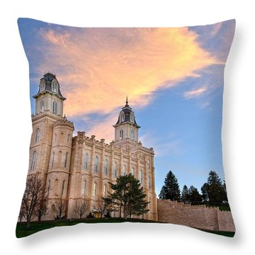 Manti Temple Morning Throw Pillow