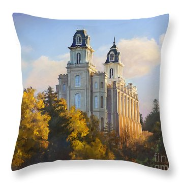 Manti Temple Throw Pillow by Rob Corsetti