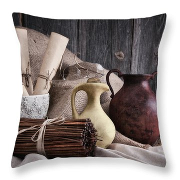 Manuscripts Still Life Throw Pillow