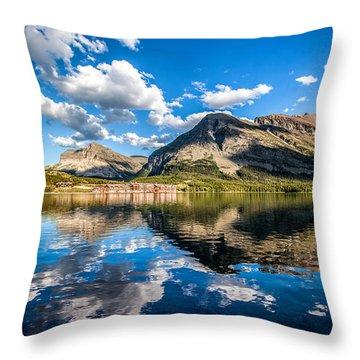Many Glacier Hotel Throw Pillow